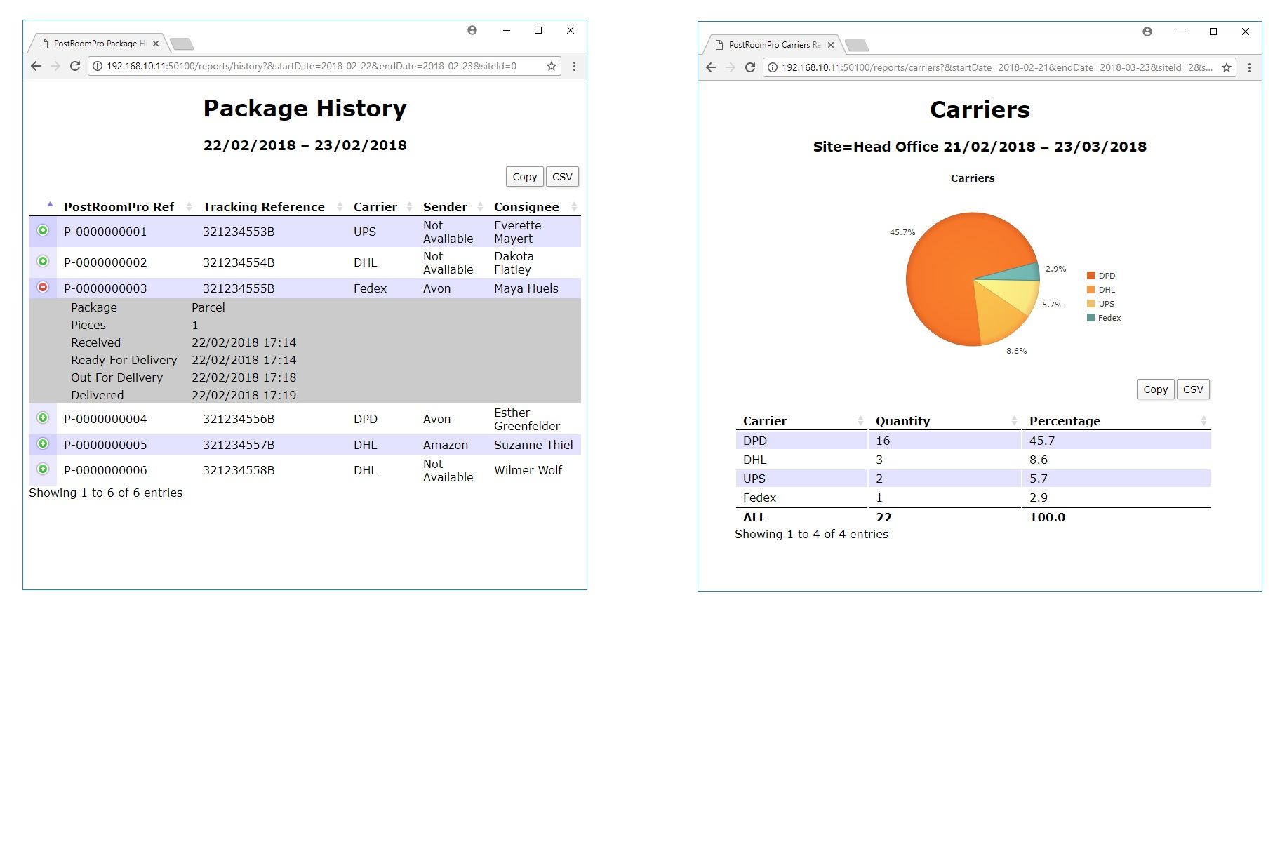 PostRoomPro mail room tracking web based management reporting