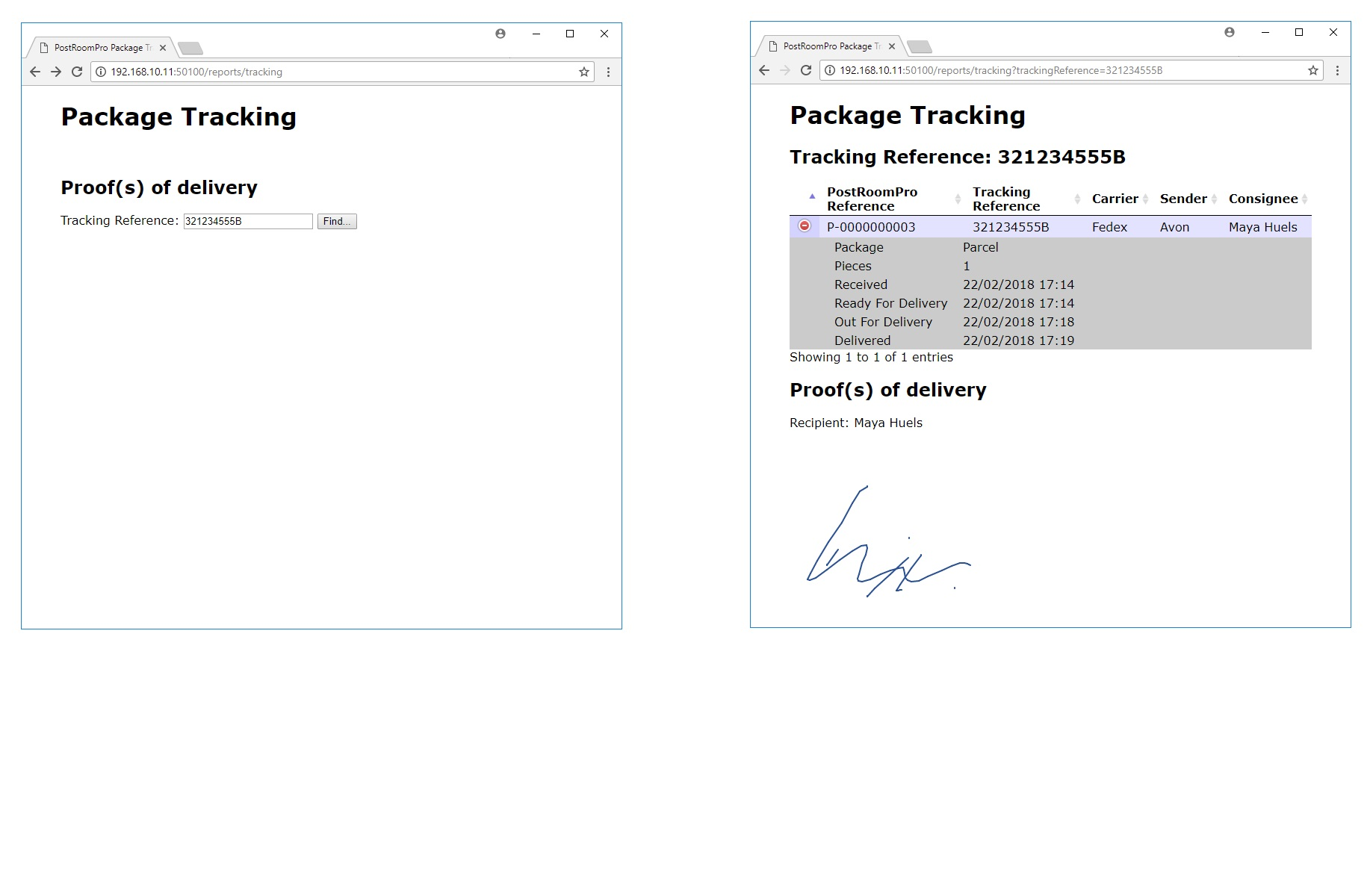 PostRoomPro mail room web based tracking
